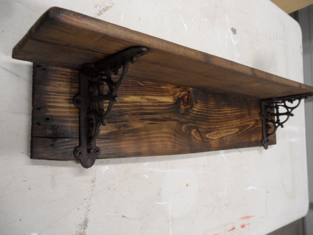 rustic barnwood style shelf primitive wall shelf decorative shelf with iron brackets country wall shelf cast iron brackets - Decorative Shelf
