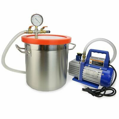 Details About 2 Gallon Vacuum Chamber With 3cfm Single Stage Pump To Degassing Silicone Vacuum Pump Gallon Stainless Steel Containers