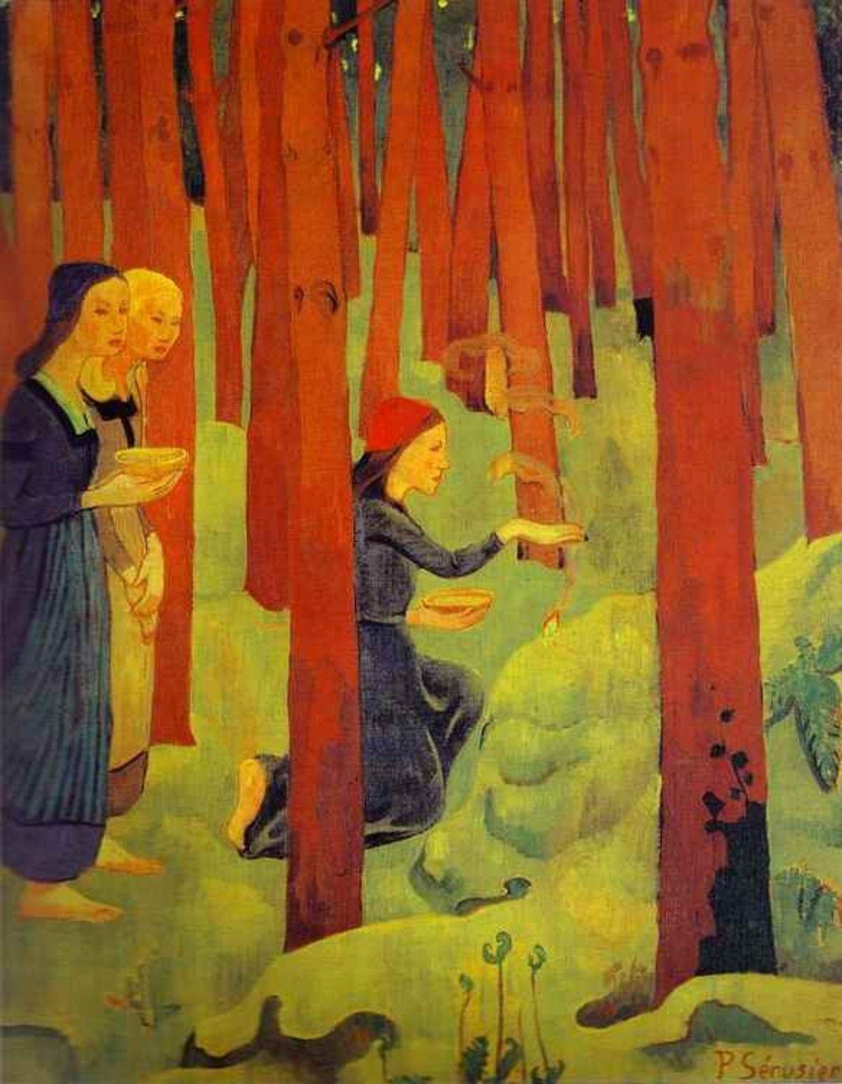 El conjuro o El bosque sagrado. Paul Sérusier, 1891-92. Museo de Bellas Artes, Quimper, Francia. Posimpresionismo. Simbolismo. Les Nabis.
