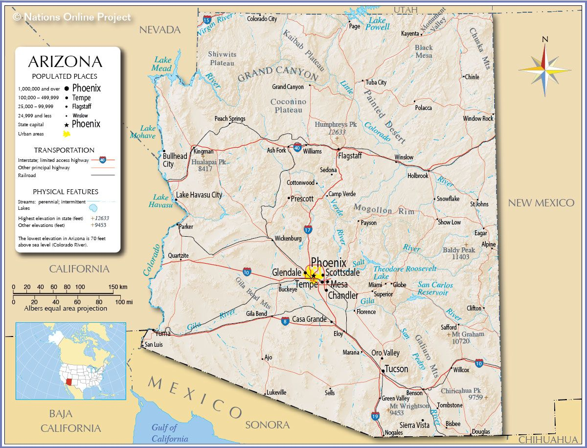 Arizona State Map Of Cities Gallery World Maps Africa - Map of usa with cities and towns
