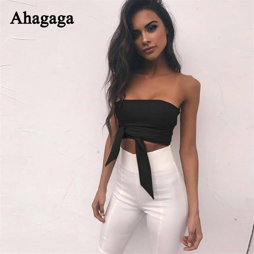 4552aa79b6a Female Sexy Off Shoulder Strapless Tube Top Zipper Back Cropped Top White