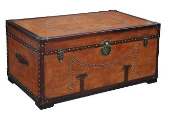 Coachman Cocktail Chest Trunk From Wood Leather w Brass Accents
