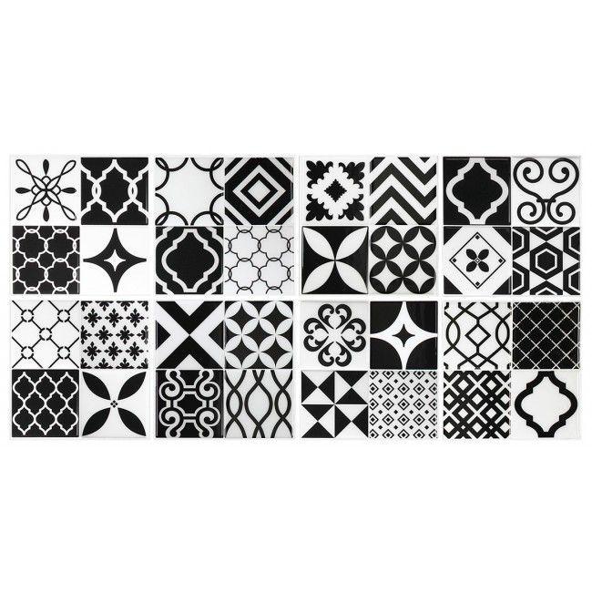 Patchwork carrelage vintage noir et blanc carrelage mural adh sif par smart - Carrelage mural noir et blanc ...