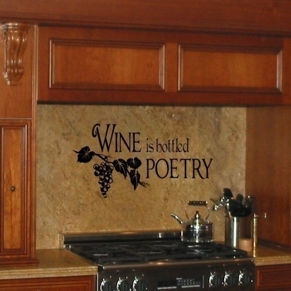 Wine is bottled Poetry vinyl wall decal graphic art lettering | The ...
