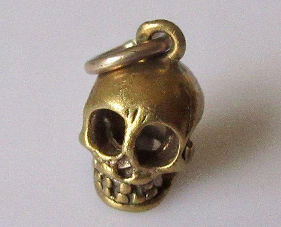 9ct Gold Skull Charm or Pendant Charms Pinterest Gold skull