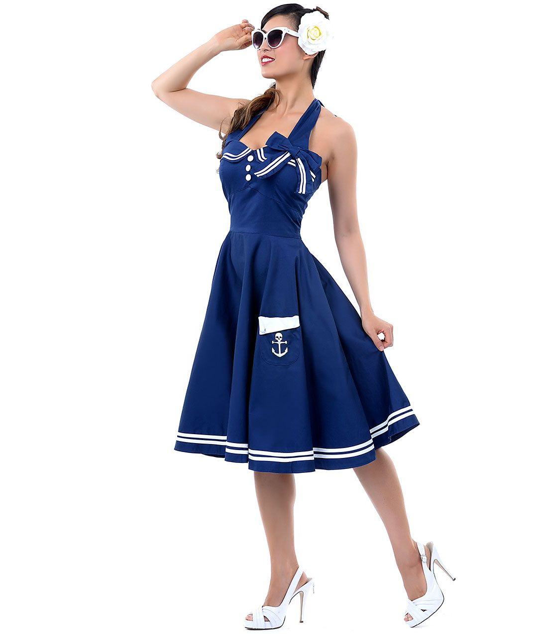So cute blue and white nautical sailor dress with kooky skull anchor