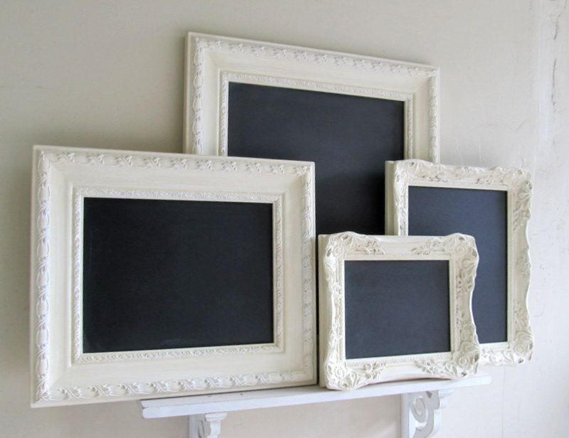 Collage of CHALKBOARDS Wedding Signs Framed Vintage Style Wall Decor Shabby Chic Collection Chalk Boards White Ornate Magnet Board- SET of 4. $309.00, via Etsy.