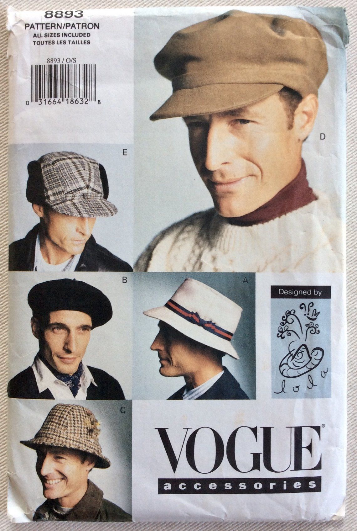 ef7b61eb9964c Vogue Pattern 8893 490 Mens Fishing Hat Beret Trilby