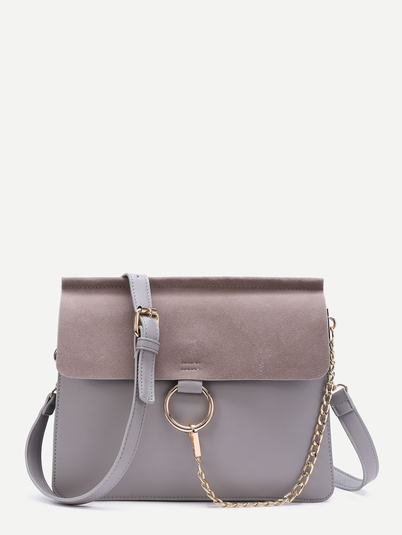 d6cca497d61f6 Shop Grey Ring Accent Faux Suede Flap Bag online. SheIn offers Grey Ring  Accent Faux Suede Flap Bag & more to fit your fashionable needs.