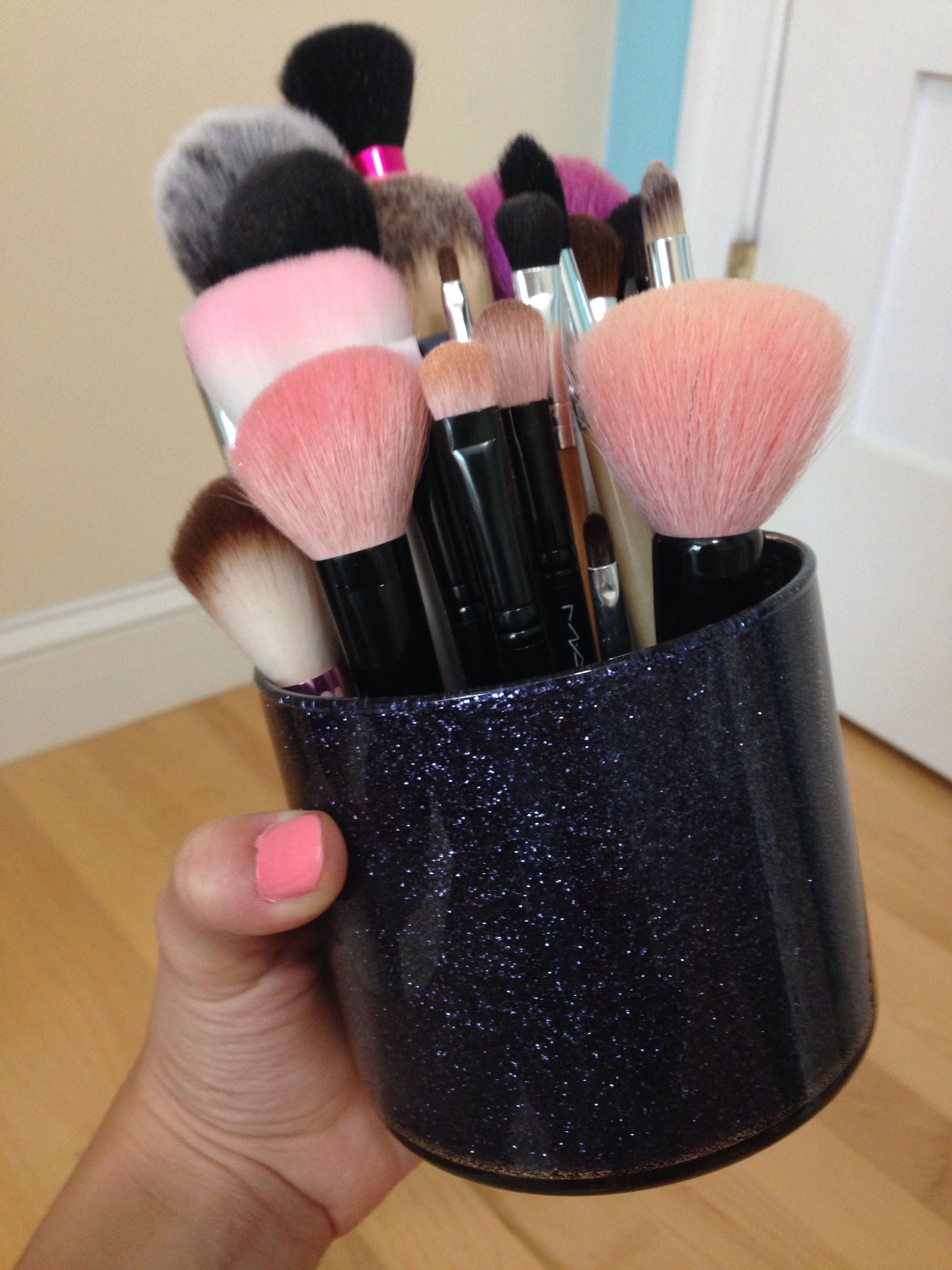 DIY glitter brush holder made out of bath and body works