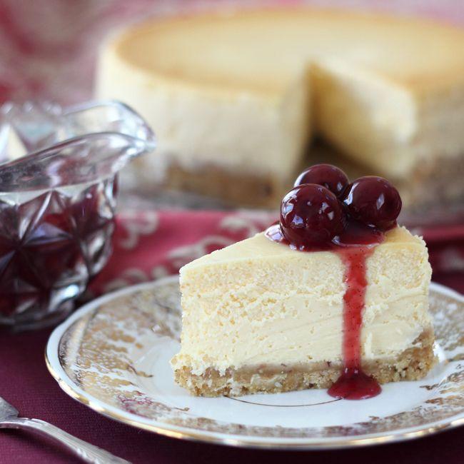 White Chocolate Cheesecake With Sour Cherry Sauce Cherry Sauce White Chocolate Cheesecake Cheesecake