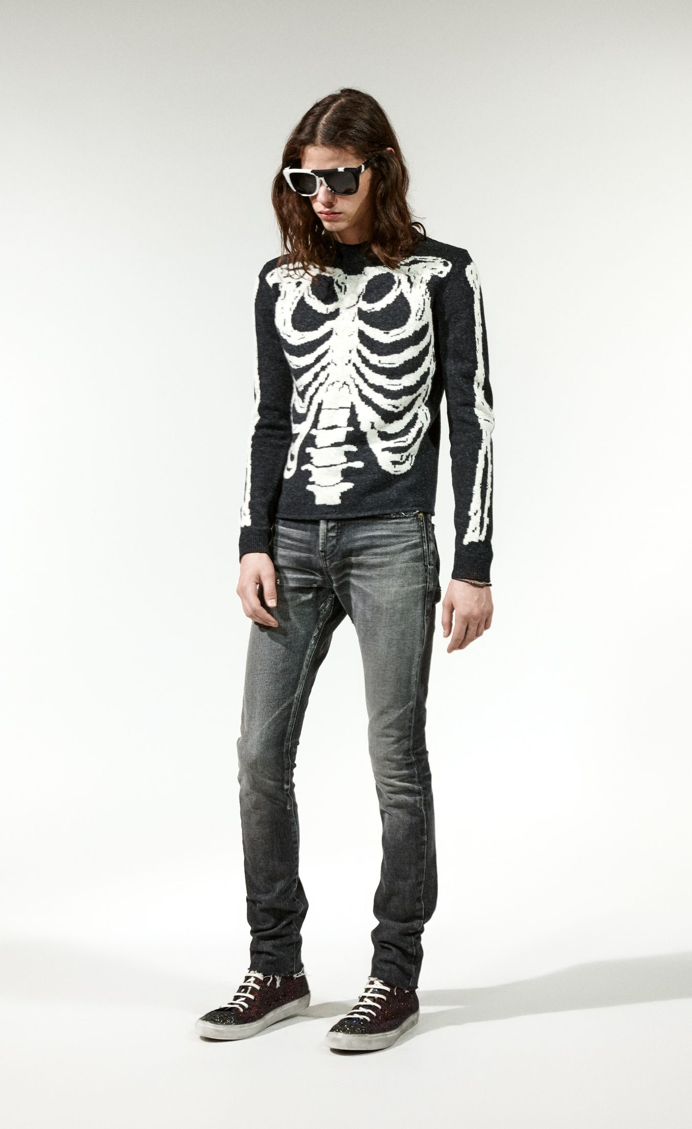 724d271f2aa Saint Laurent Skeleton Sweater In a Black And Gray Jacquard Knit | YSL.com