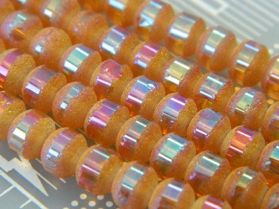 "5x7MM  Golden Amber Striped Matte Orbits Crystal Beads - Golden Striped Crystal Beads - Orbitz Crystal Beads - 16"" Strand, 76pcs/strand"