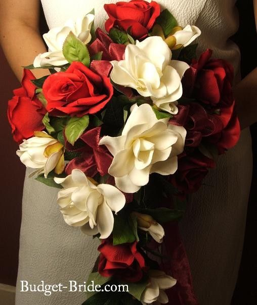 Red Rose And Gardenia With Images Red Bouquet Wedding