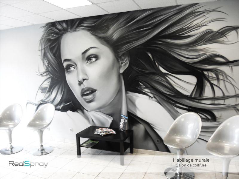 peinture murale salon de coiffure RealSpray Deco salon