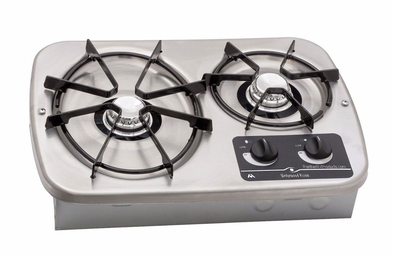 Atwood Dv20s Drop In 2 Burner Propane Cooktop 56494 Stainless Gas Stove Top Rv Cooktop Propane Camp Stove