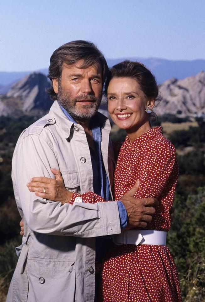Robert Wagner and Audrey Hepburn photographed by Douglas Kirkland for their movie Love Among Thieves, 1987.