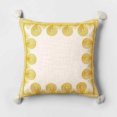 Yellow Square Throw Pillow
