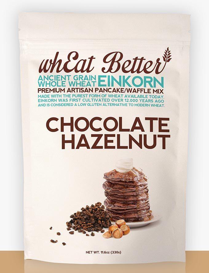 Chocolate Hazelnut EINKORN pancake/waffle mix. www.whEatBetter.com/shop/