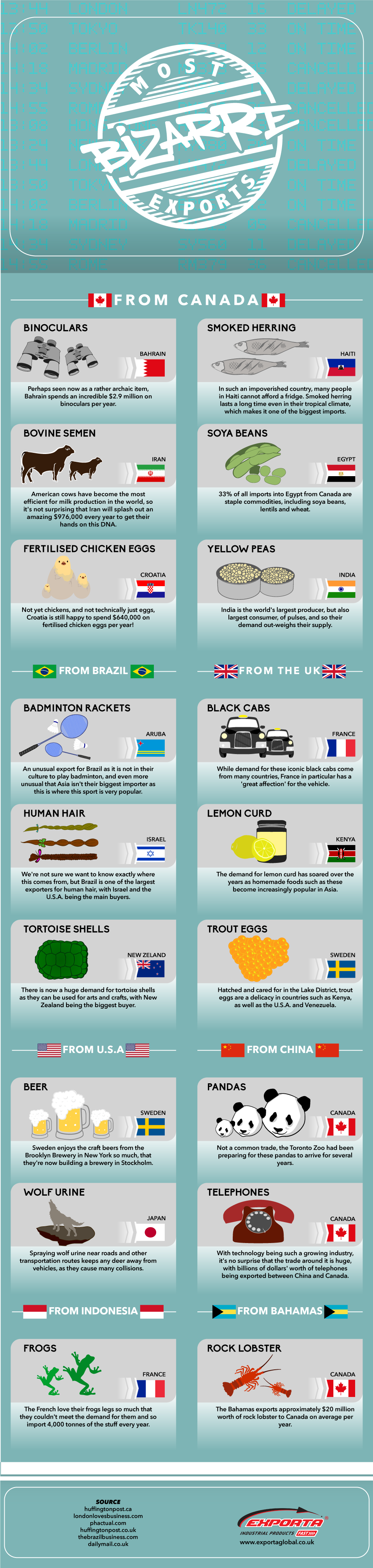 Most Bizarre Exports #Infographic