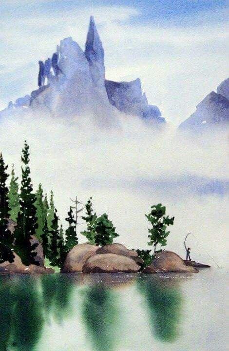 Fishing Scene Watercolor Landscape Paintings Watercolor Landscape Landscape Paintings