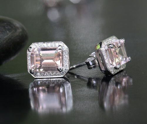Fine Morganite and Diamond Earrings in 14k White Gold, Morganite Emerald Cut 8x6mm and Diamond Halo by Twoperidotbirds on Etsy https://www.etsy.com/listing/157817845/fine-morganite-and-diamond-earrings-in