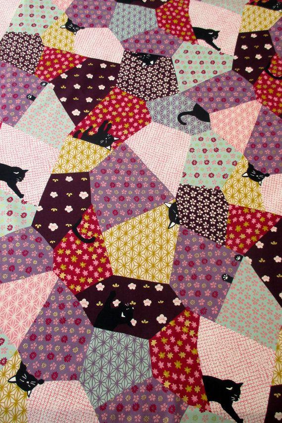 Fabric Quilt Gate Hyakka Ryoran Neko Cat Squares HR3110Y-13B w/Gold Metallic BTY