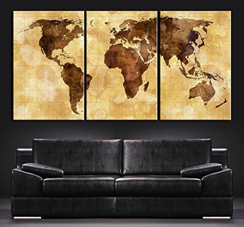 Large Wall Art Canvas World Map – Brown World Map on Divided into ...