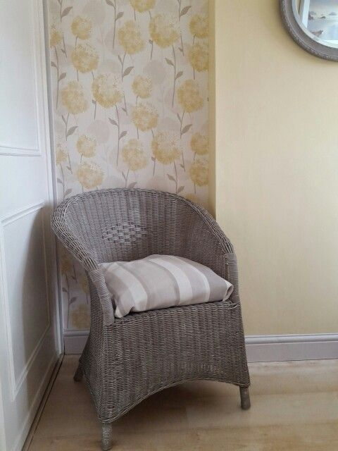 Painted Wicker Chair. Annie Sloan Chalk Paint French Linen, Dry Brushed  With Old White.