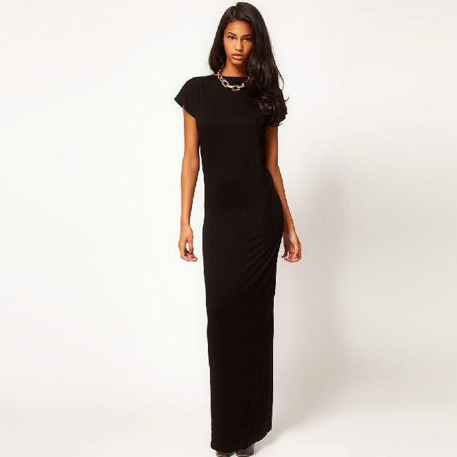Elegant Deep V Collar Long High Slit Dress Black