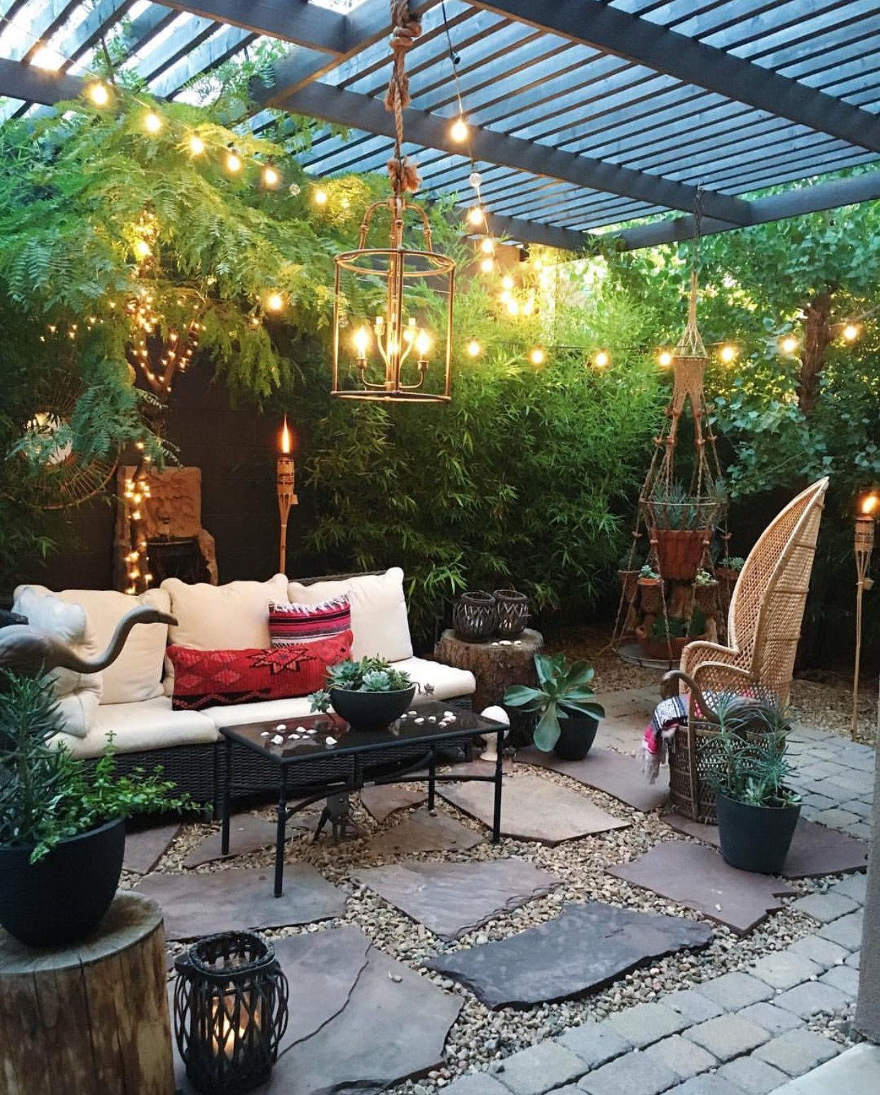Back Yard Decoration Ideas I Love That Bohemian Plant Tower In The Back Corner I Wonder If They Bou Backyard Patio Designs Backyard Patio Outdoor Living Room