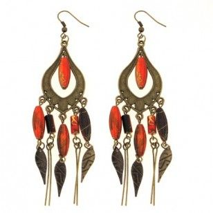 Brass Tone Brown and Orange Bead Chandelier Earrings