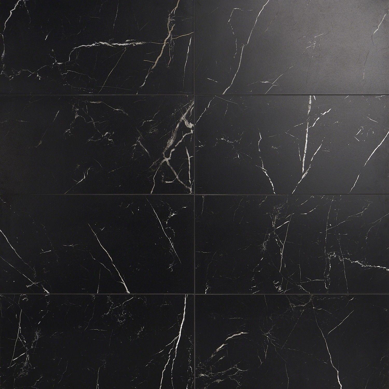 Marble Tech Port Laurent 12x24 Matte Porcelain Tile In 2020 Black Marble Tile Porcelain Tile Black Marble Bathroom