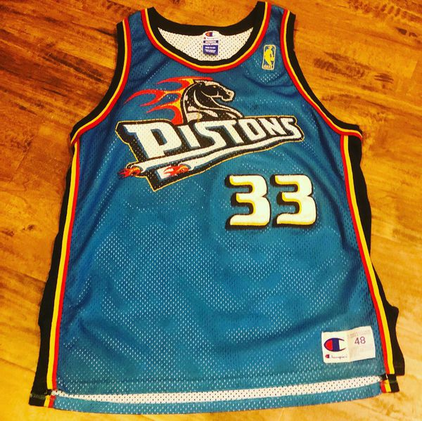 new products 21ae2 9d3b9 Champion Jersey Pistons Grant Hill gold logo starter nike ...