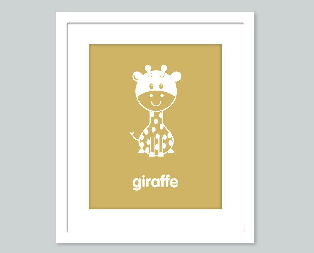 Nursery Art Print - Giraffe - 8x10 poster - Children Decor, Nursery ...