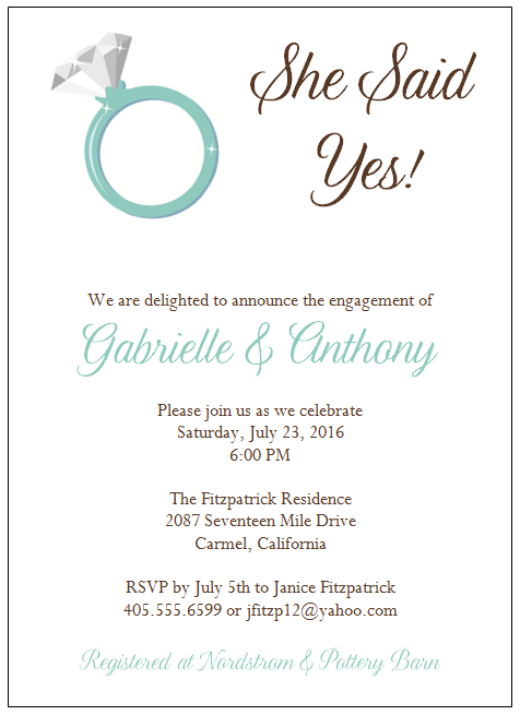 engagement invitation wording