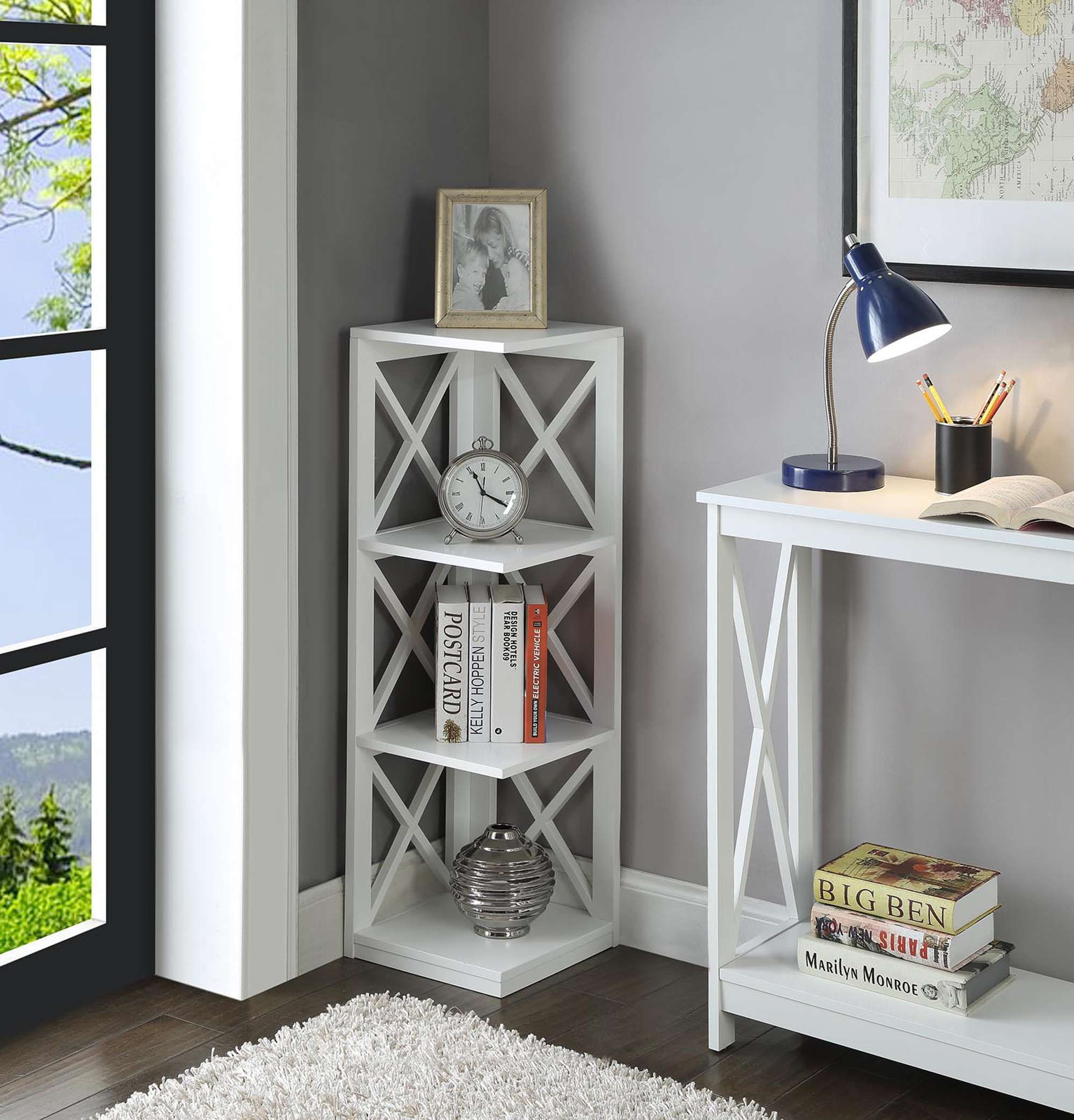 Lowest Price On Convenience Concepts Oxford White 3 Tier Corner Bookcase S20 159 Shop Today Corner Bookcase Corner Bookshelves Bookcase