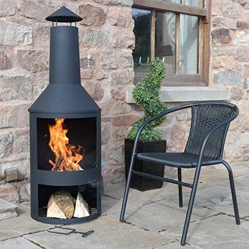 4FT 4u2033 Extra Large Chimenea Black Fire Pit Burner Patio Heater Outdoor  Garden