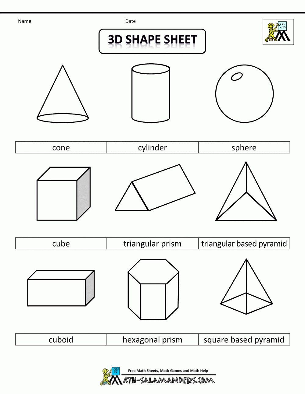 2d Geometric Shapes Chart Corner Of Chart And Menu 3d Shapes Worksheets Shapes Worksheets 3d Geometric Shapes