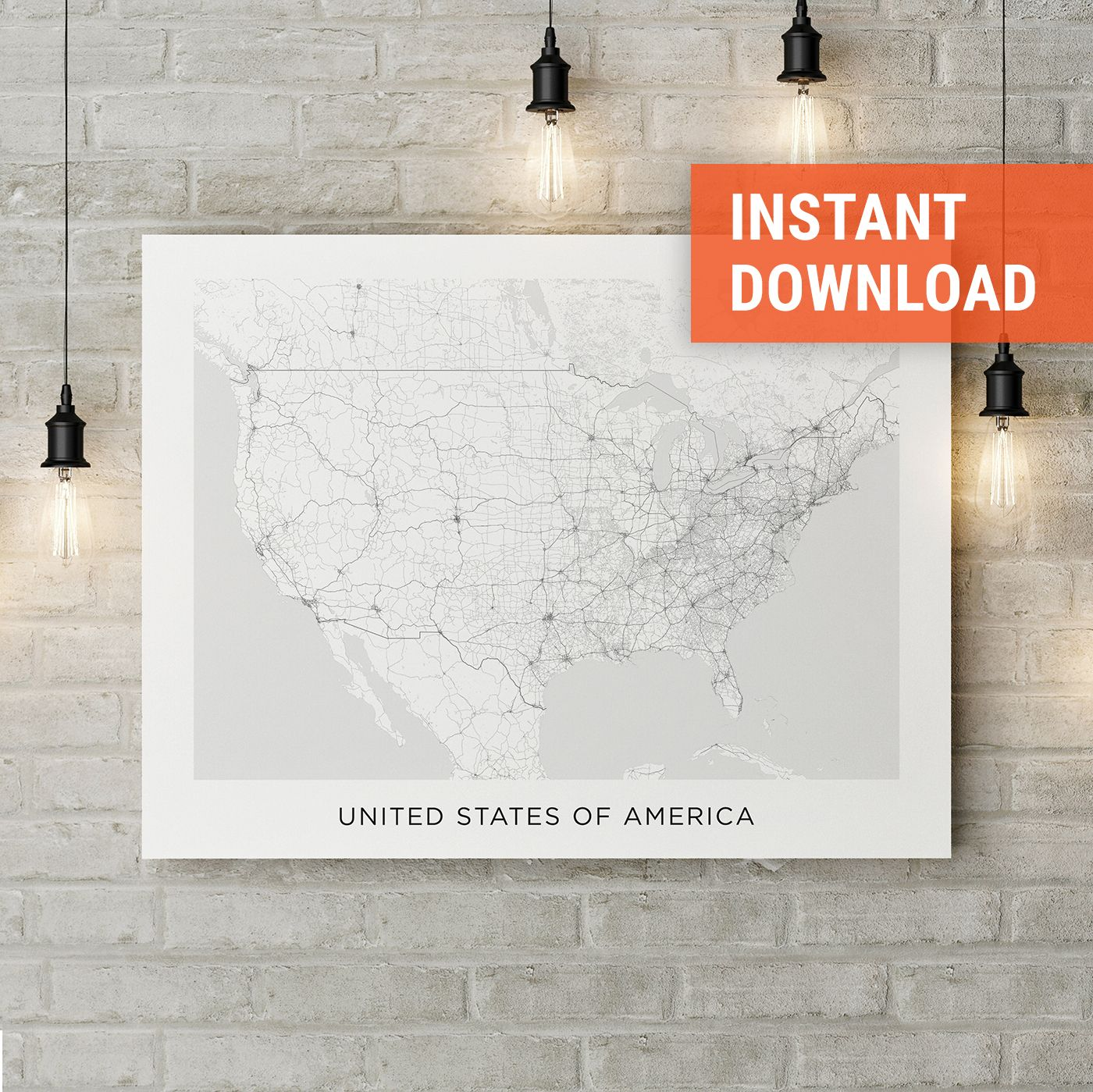 USA Map Print, Map of USA Download, United States Street Map ...