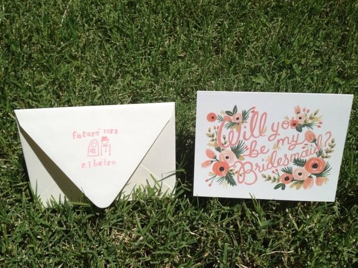 Coral vintage bridesmaid card from Paper Source