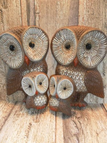 1970s vintage owl decor yes chouettes sculptures for Yes decoration