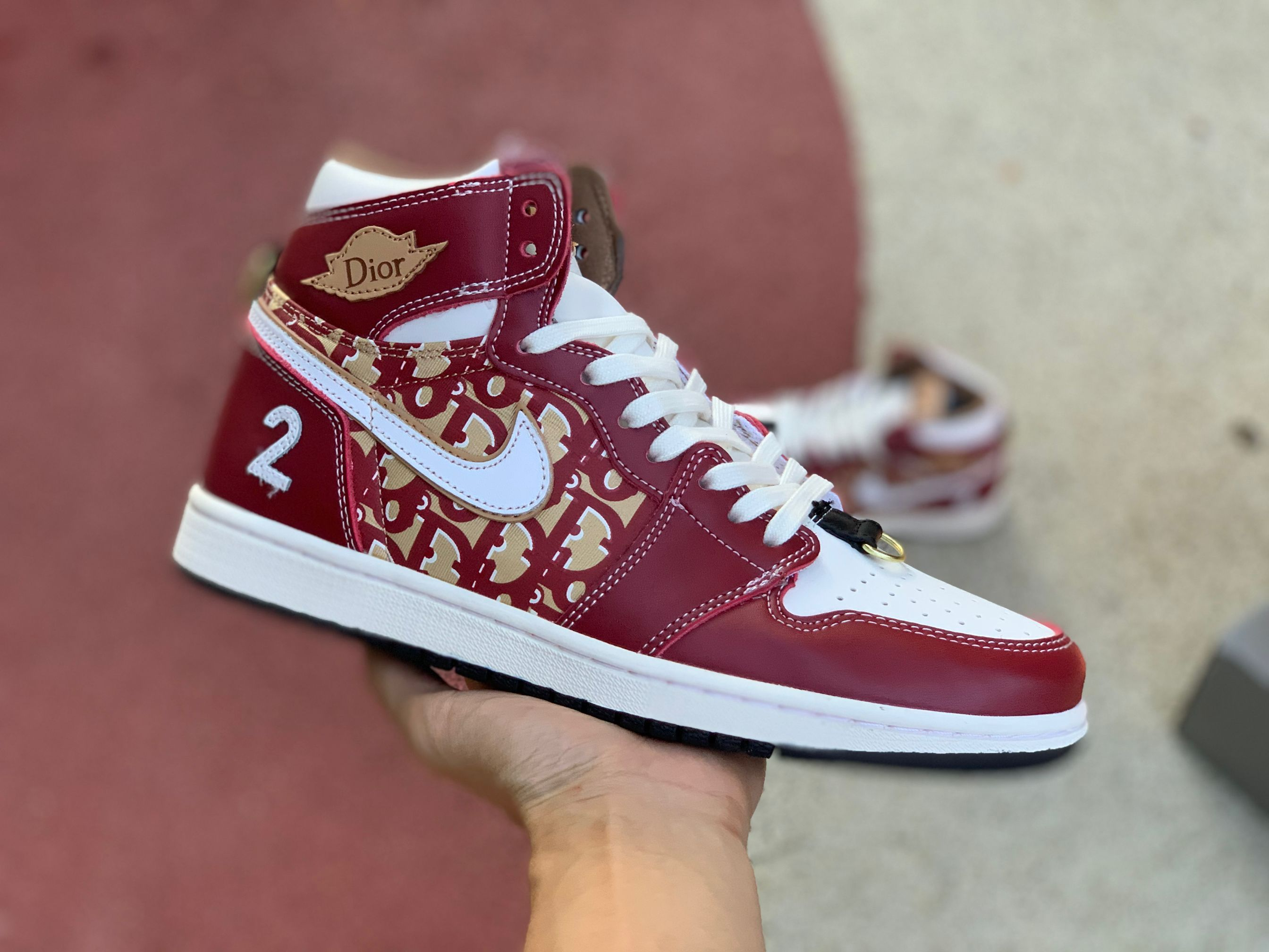 Dior x Air Jordan 1 Wine Red White Shoes For Sale in 2020