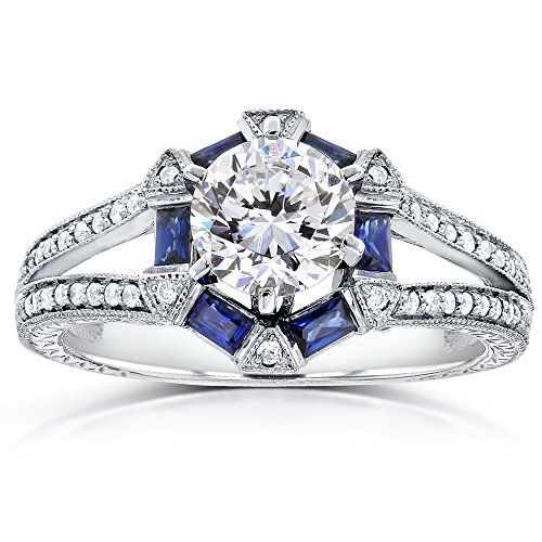Engagement Rings Simple Forever One Nearcolorless Ghi Art Deco Moissanite Ring With Shire Diamond