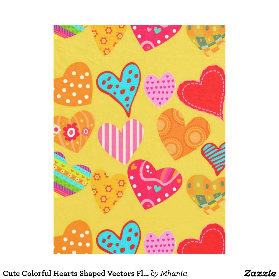 Cute colorful hearts shaped vectors fleece blanket baby blanket