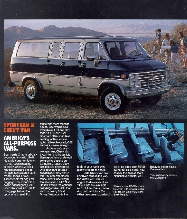 f387af673a 1985 Chevy G30 Beauville Sportvan with Exterior Decor Package in Galaxy  Blue and Silver Metallic