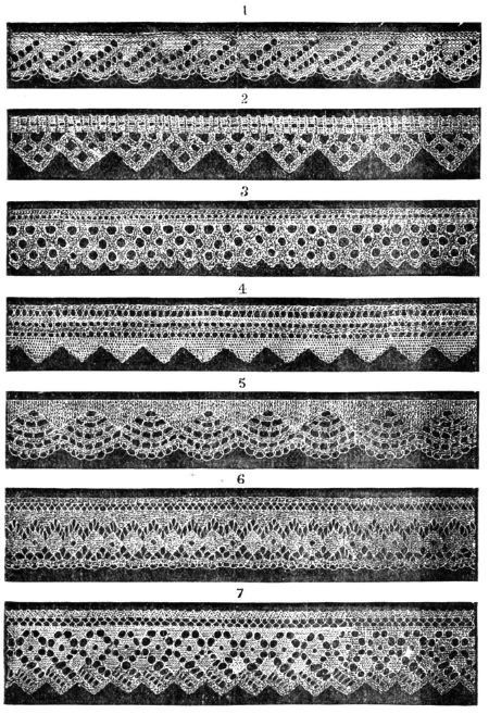 Knitted lace edgings 7 Victorian knitting patterns in Set 1 Downloadable PDF 1850s for sale