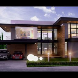 Modern Resort Home two story house Design 3D Perspective
