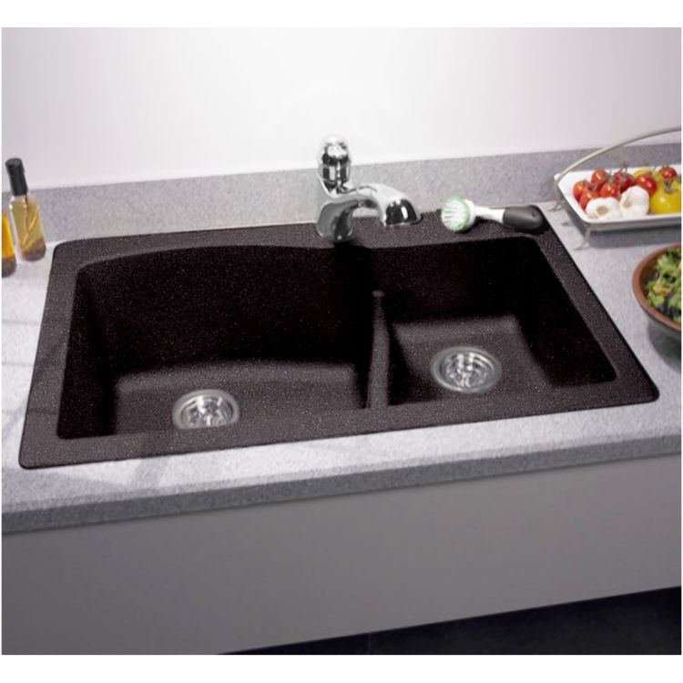 Swanstone Qzls 3322 077 Nero Drop Under Large Small Bowl Kitchen Sink Drop In Kitchen Sink Double Bowl Kitchen Sink Kitchen Remodel