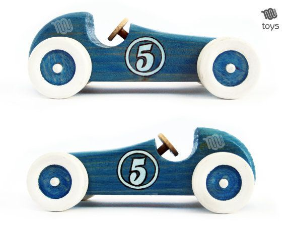 Stylised Blue Racing car – natural look wood toy